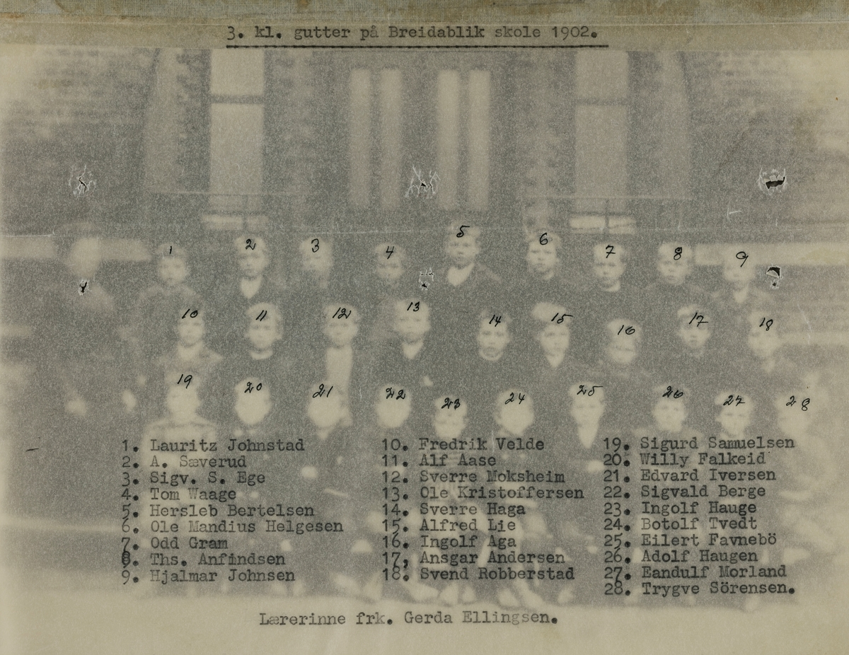 Klassebilde Breidablik skole 3. klasse 1902