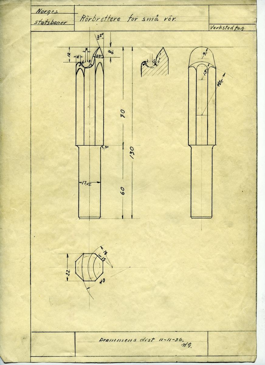Håndtegnet arbeidsteging på kalkerpapir for rørbrettere for små rør.