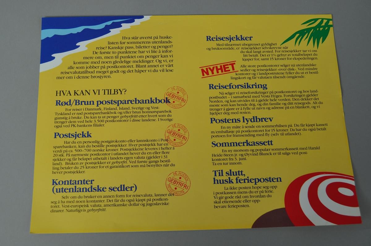 Rektangulærplakat  med tekst.Salg av reisevaluta i Posten