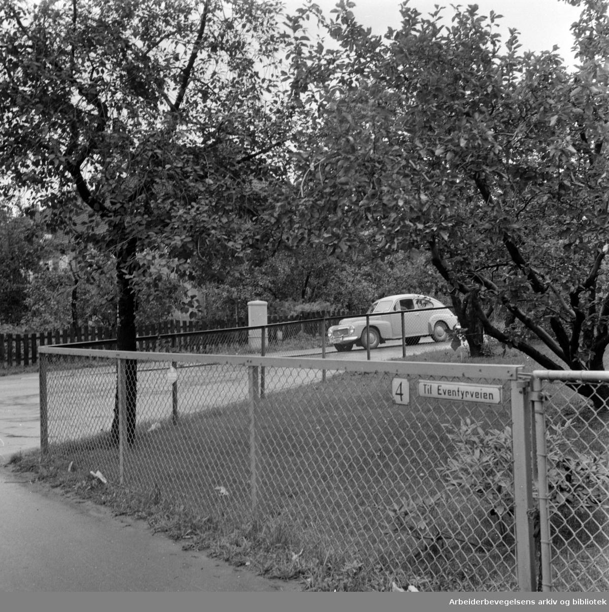 Ullevål Hageby. Trafikkfeller fjernes. Krysset Sognsveien - Eventyrveien. Oktober 1958