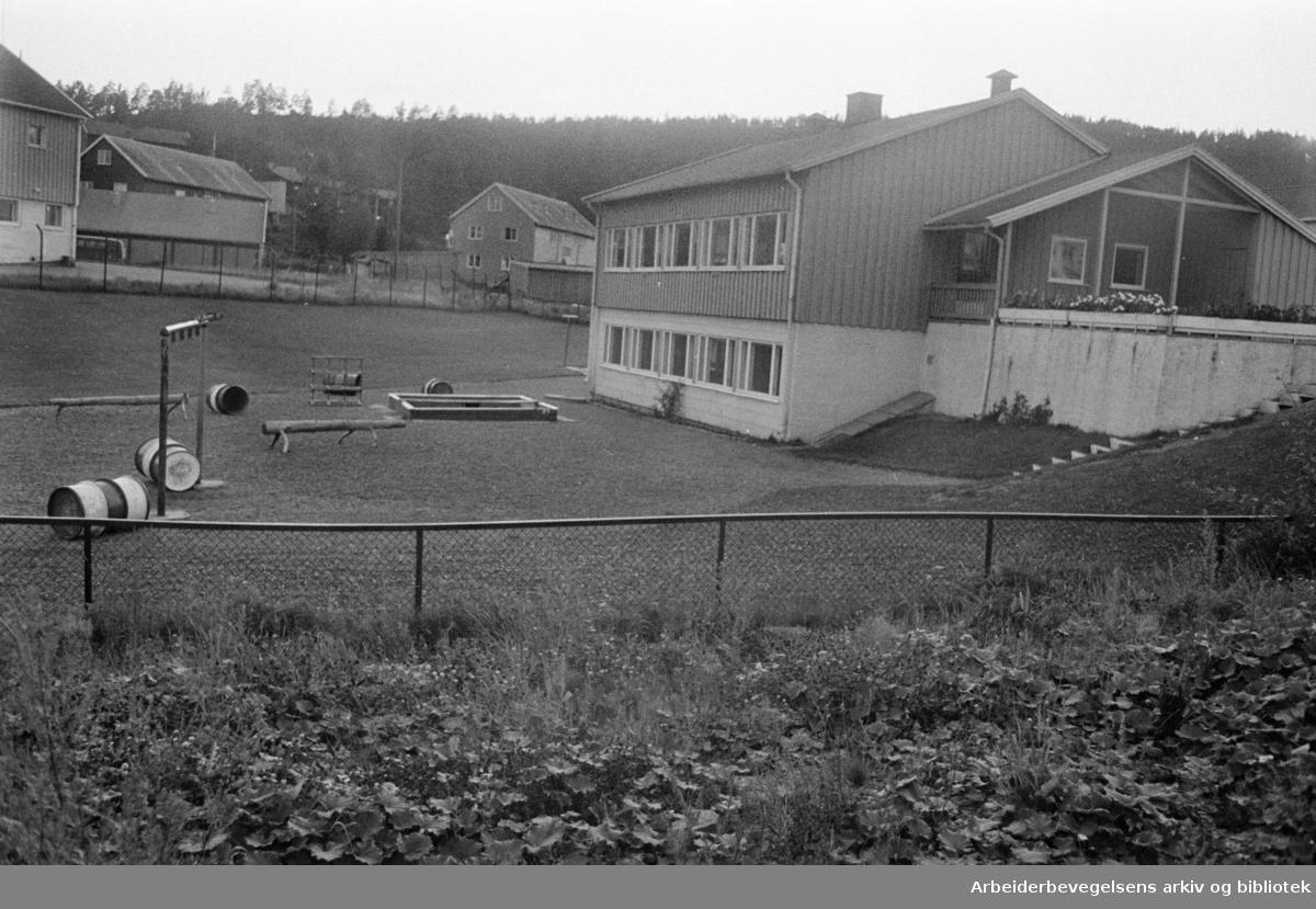 Sletta barnehage på Årvoll. August 1968