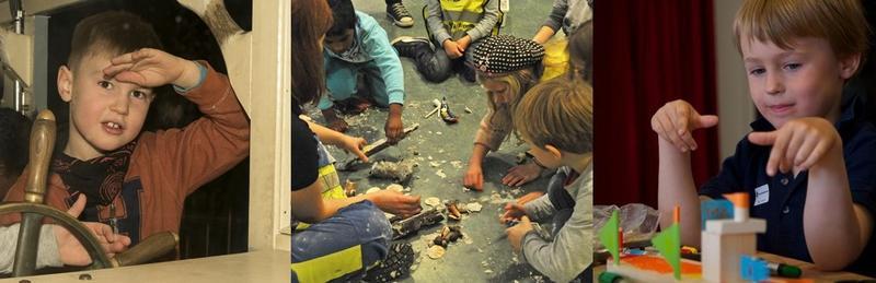 Bildemontasje som viser barn i aktivitet på museet. Til venstre Sally Jones, i midten arkeologi, til høyre Barnas båtverksted. (Foto/Photo)