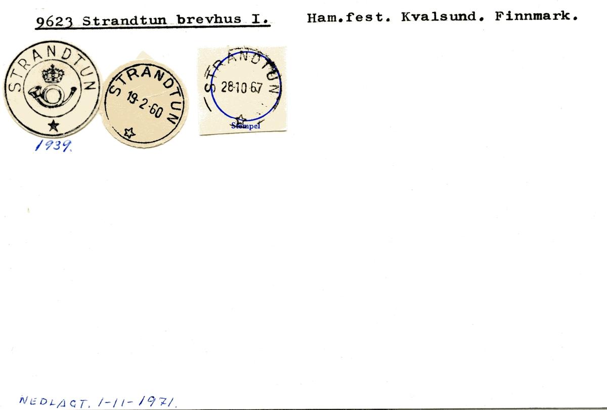 Stempelkatalog  9623 Strandtun, Kvalsund kommune, Finnmark