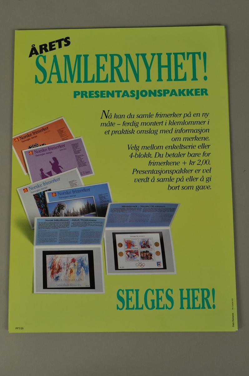 Salgsplakat for årets frimerkeutgave i samlesett. Bokmål og nynorsk.