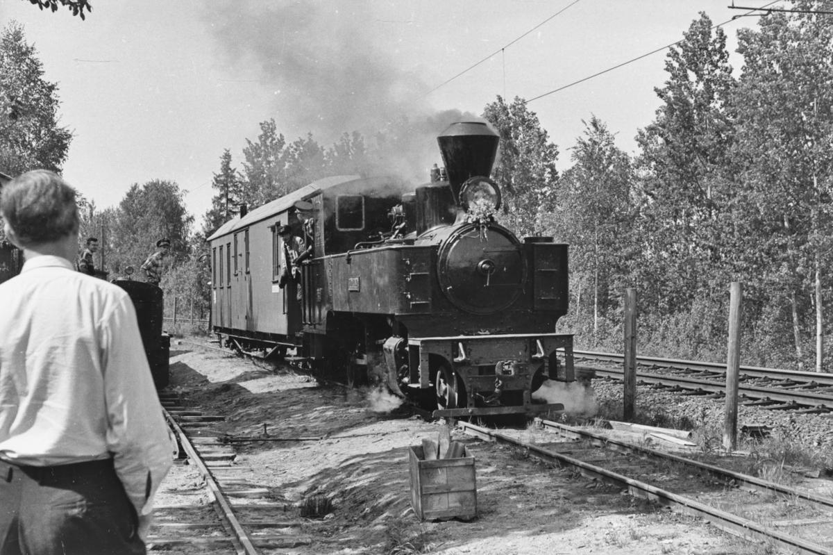 Et av de første tog på museumsbanen Urskog-Hølandsbanen på Bingsfoss, trukket av damplokomotiv 6 Høland. Turen ble arrangert for andelshavere og deres familie.