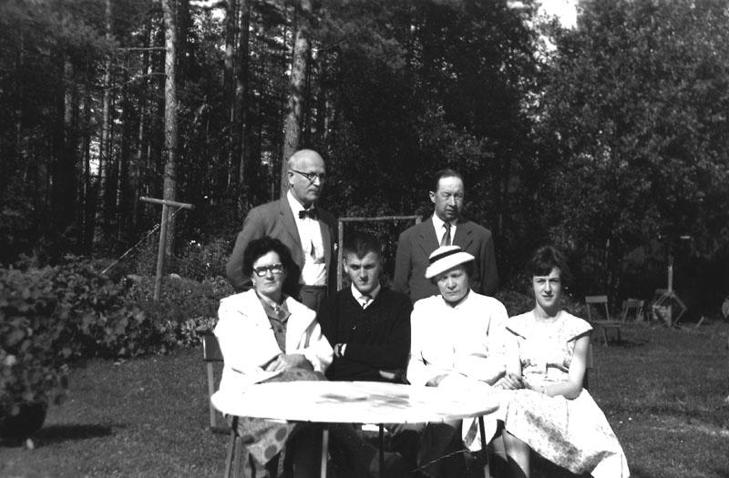 Fr.v. fru Hulda, Sigurd Bograng, Fästmannen från Finland, Valter Andersson, Greta Laurell, Monica Rangelind