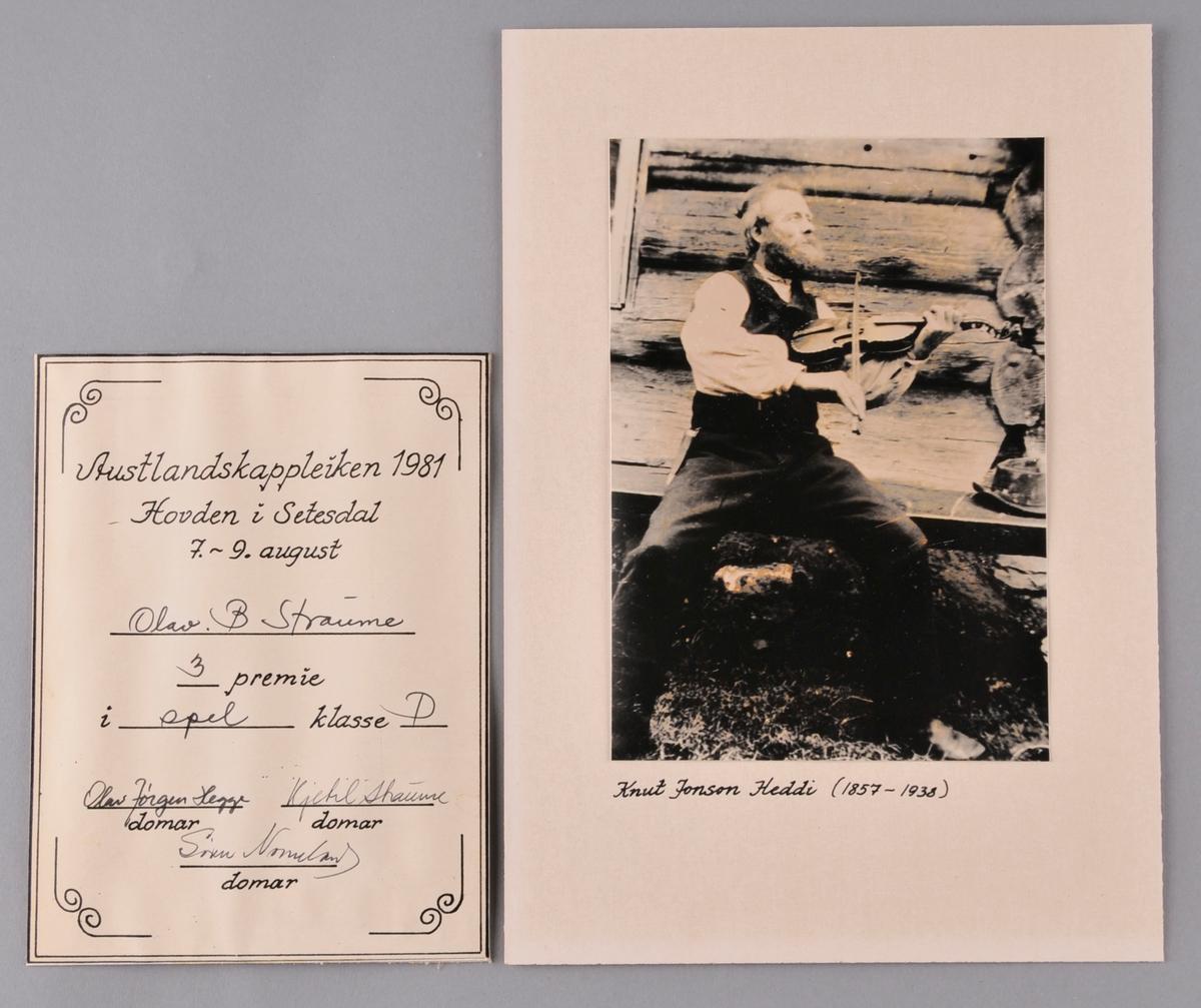 Bilete av Knut Jonson Heddi og Diplom frå Austlandskappleiken 1981