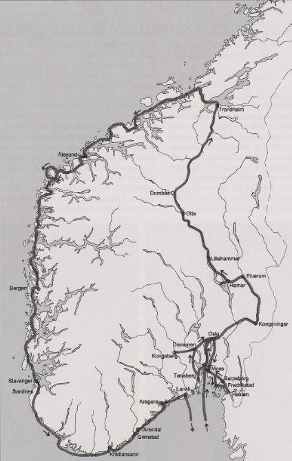 Kart over stedene i Sør-Norge som Christian 6. besøkte i 1733. (Foto/Photo)
