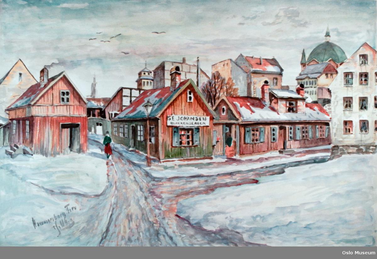 arkitektur, torg, vinterbilde, blikkenslager, kirke