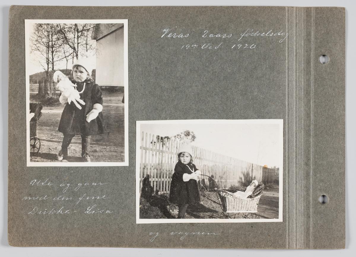Begge bilder:Vera Holck f.Michelsen på 2årsdagen 19.oktober 1920, ute på tur med ny dukke og dukkevogn, på Strømmen.