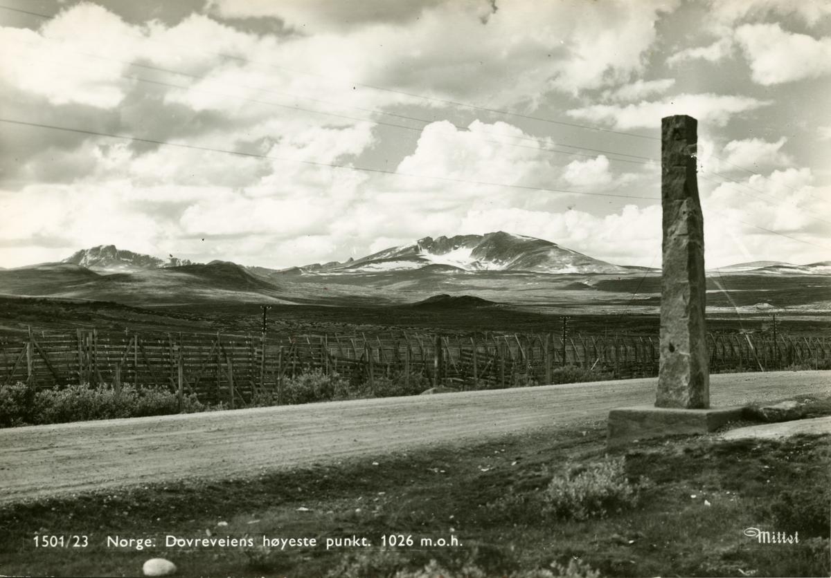 Postkort: Dovreveiens høyeste punkt, 1026 m.o.h.