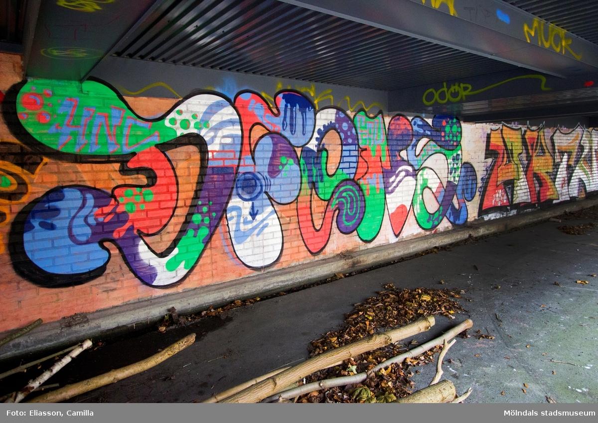 Graffiti på pappersbruket Papyrus fabriksområde i Forsåker, Mölndal, den 4/11 2014. Fotodokumentationen gjordes under perioden mellan pappersbrukets avveckling och områdets nyexploatering. Området var under denna tid populärt bland ungdomar som ville uttrycka sig konstnärligt med graffiti.