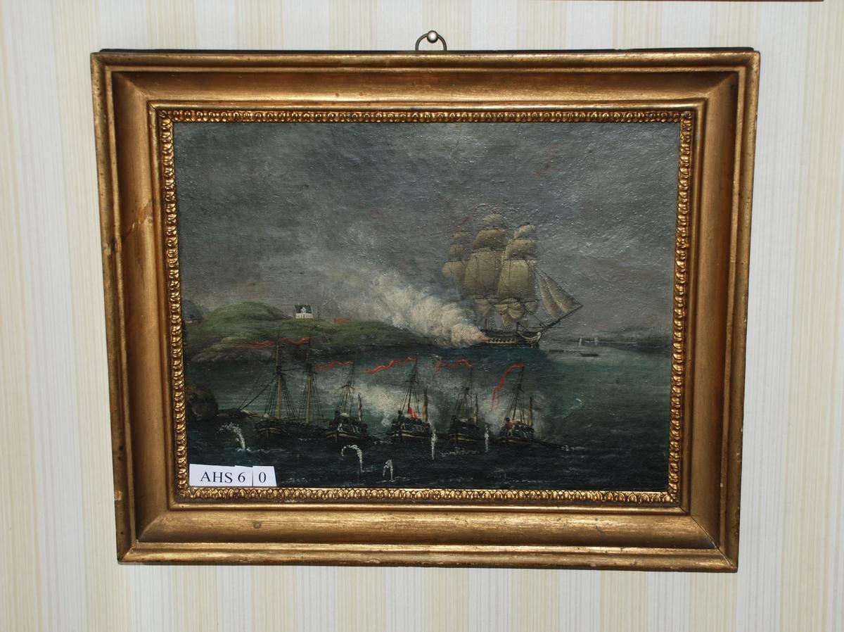 """Sjøslag mellom den engelske fregatten """"Tartar"""" og fem dansk-norske kanonbåter, fire av dem kanonjoller, den femte en kanonsjalupp."""