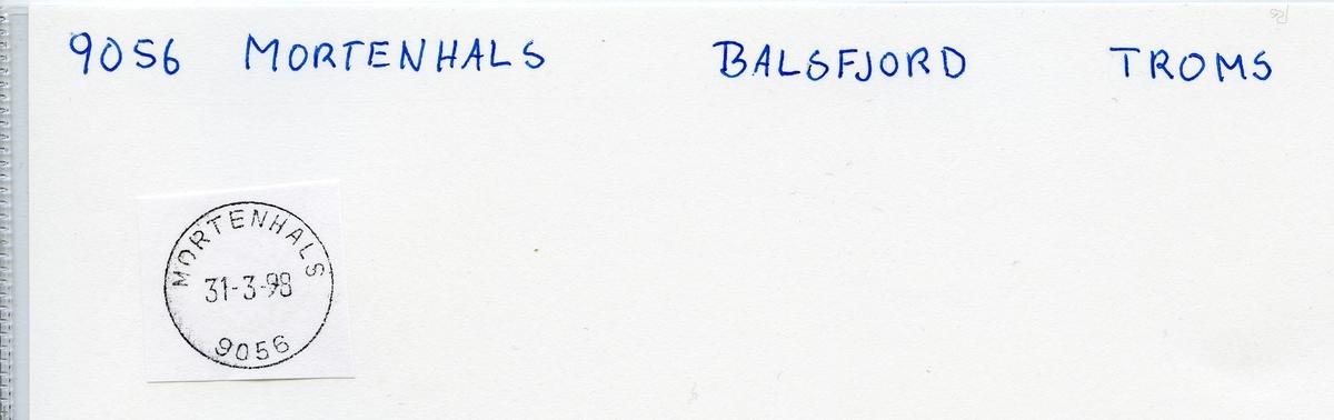 Stempelkatalog  9056 Mortenhals, Balsfjord kommune, Troms (Martinhals)