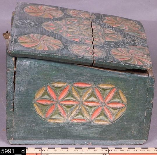 """Anmärkningar: Skrin, skuren datering 1772.  Gångjärnsförsett snedställt lock. På framsidan sitter en nyckelskylt av järn, nyckel finns (bild 5991__b). Samtliga sidor (utom baksidan) är försedda med karvsnittsdekorer, bl.a. i form av hjärtan och stjärnmönster. Invändigt finns spår och rester efter en läddika (bild 5991__c). På insidan av locket en skuren datering """"Anno 1772"""". Hela skrinet är grönblått målat förutom karvsnittsdekorerna som är målade i bjärta färger. Färgerna är gamla (1800-tal) men ej ursprungliga. De ursprungliga färgerna ser likadana ut, man har alltså fyllt i färgerna (bild 5991__d). H:160 L:250 Dj:215  Bild 5991__d visar närbild på ena kortsidan. Bild 5991__e visar närbild på locket.  Tillstånd: Läddikan är trasig, lösa delar tillhörande läddikan ligger i skrinet.  Historik: Inköpt från antikhandlare E. L. Eriksson, Vasagatan, Västerås, genom Nils Nygren på 1920-talet.  Negativnummer X-1626"""