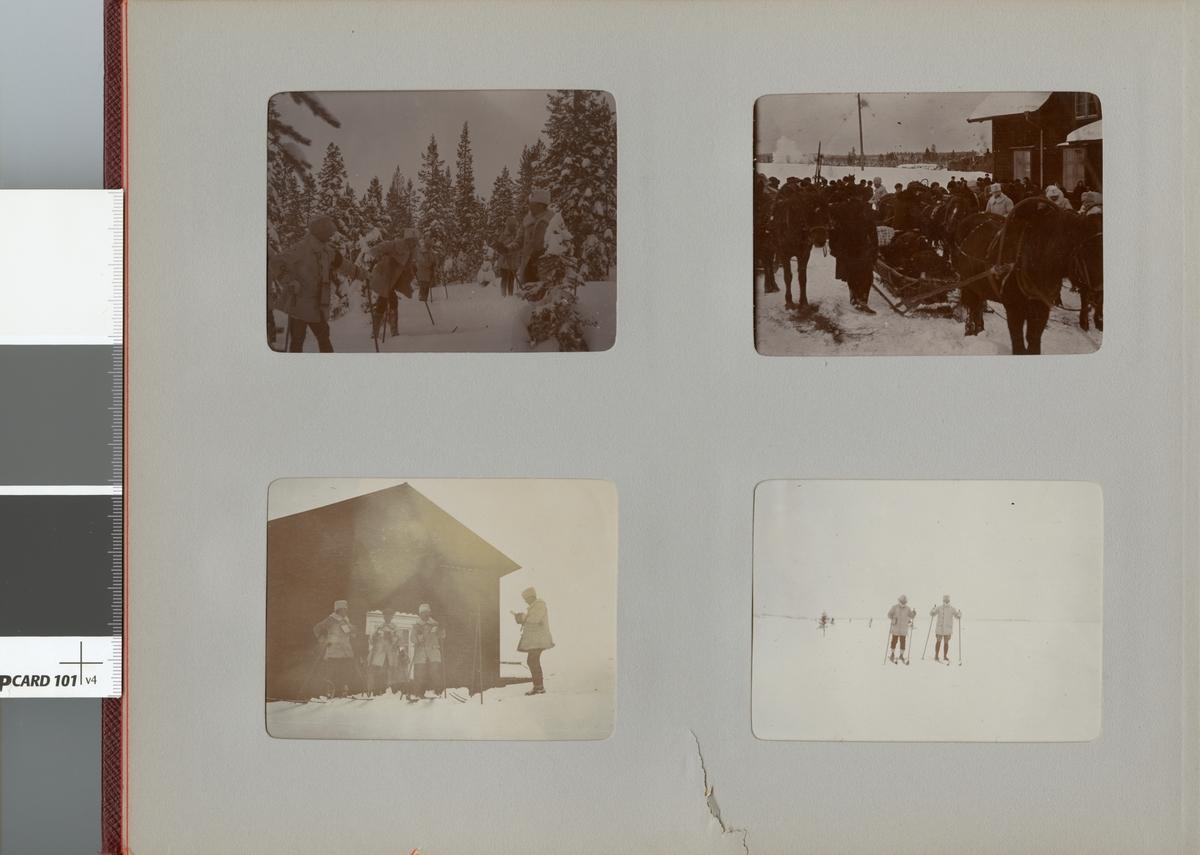 Smålands husarregemente K 4 på vinterövning i Norrbotten omkring 1910.