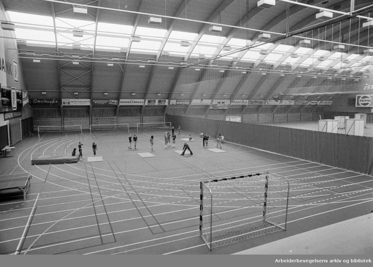 Ekeberg Idrettshall. Brannfjell skole bruker hallen som gymsal. August 1974.