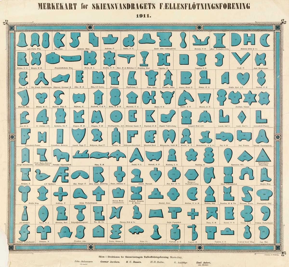 «MERKEKART for SKIENSVASDRAGETS FÆLLESFLØTNINGSFORENING 1911».  Kartet er trykt på et ark som er 70 centimeter bredt og 62, 5 centimeter høyt.  Under den siterte overskriften finner vi ei ramme med blå blå felt, avbrutt av rosetter som også er blåfargete, og med siksakmønstre langs ytterkantene.  Inni denne ramma finner vi 122 rektangulære ruter med fra ett til fire symboler i hver.  Disse symbolene har svart omramming med antydning til skyggelegging, og de er fylt med blått fargestoff.  Dette er tømmermerker som ble brukt av de aktørene som kjøpte og fikk fløtet tømmer i Skiensvassdraget i 1911.  Følgende tømmerhandlere er representert på merkekartet:  Aall-Ulefos Brug (tre merker) Aas, Peter (ett merke) Andersen, Hans (to merker) Bakka, O. G. (ett merke) Bamle Akte Cellulosefabrik (tre merker) Bernaas, O. H. (ett merke) «Bien» Trælastforretning (ett merke) Blakstad Holta & Co. (tre merker) Blekum, O. L. (ett merke) Borgen, H. H. (ett merke) Borgestadholmens Brug (to merker) Bruun, H. L. (ett merke) Brækka, O. O. (ett merke) Buer, M. & Mikkelsen, I. (ett merke) Bratsberg Bruk (ett merke) Cappelen, D. (ett merke) Cappelen, S. D. (tre merker) Croft, F. (ett merke) Dale Skogkompani (ett merke) Daw, A. Z. (ett merke) Det franske Grubekompani (ett merke) Eikjarud, Gjermund H. (ett merke) Eika, H. K. (ett merke) Eika, O. N. Tvedten (ett merke) Elvekassen (ett merke) Engebretsen, I. (ett merke) Fosso, Østen (ett merke) Franklin, James (ett merke) Graver, Svend G. (ett merke) Graver, Ø. G. (ett merke) Grubbe Bruk A/S (to merker) Gurstad, O. H. (ett merke) Hustvedt, John (ett merke) Hansen, H. C. (ett merke) Hafsteen, Hølje G. (ett merke) Hafsteen, O. (ett merke) Haukevik, T. & O. (ett merke) Holta, O. & H. (ett merke) Huvestad, T. A. (ett merke) Haave, O. O. (to merker) Haave, A. O. (ett merke) Hansen, A. E. (ett merke) Jacobsen, Gunnar (fire merker) Jore, K. L. (ett merke) N. Kittilsen A/S (ett merke) Kjeldalen, Ole T. (ett merke) Kleppen, M. M. (ett merke) Kleppen, T. M.