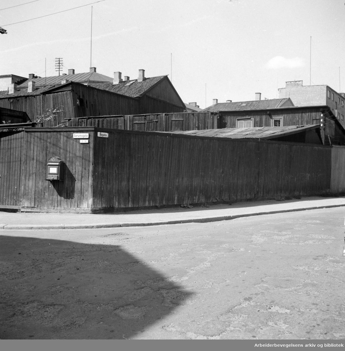 Bøgata - Sørumsgata. Juli 1955