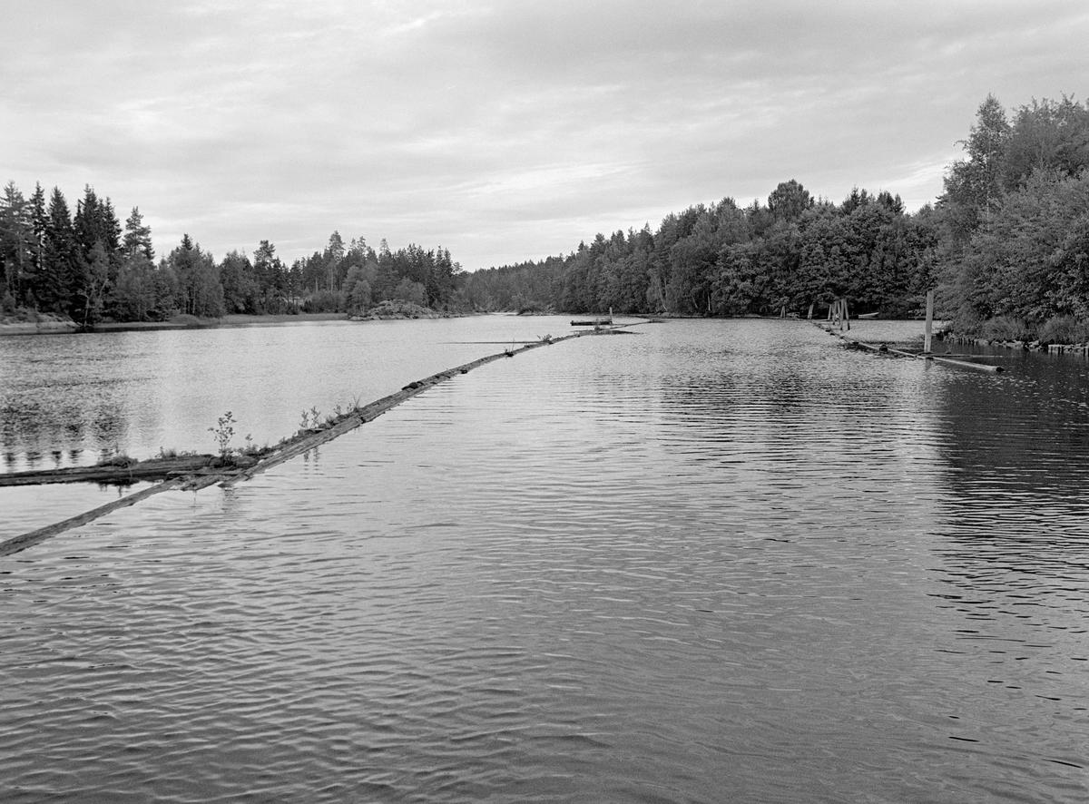 Lenselagt elveparti i Strømselva i Aremark kommune i Østfold.  Fotografiet er tatt i motstrøms retning på et sted der elva var vid og stilleflytende, men antakelig også grunn.  Sannsynligvis var det en viss dybde langs det østre landet.  Dette må ha vært bakgrunnen for at det lå ledelenser som skulle holde tømmeret i denne delen av elveløpet.   Lensene i Haldenvassdraget ble ofte lagt slik at endene på lensestokkene overlappet hverandre, som takstein.  Lensestokkene ble sammenføyd ved hjelp av smidde kramper og løkker.  Det var også vanlig at lensene ble utstyrt med tverrstokker på landsidene som skulle sikre at de lå i en viss minimumsavstand fra elvebreddene.  Mot det østre landet (til høyre på bildet) var det dessuten drevet pæler ned i elvebotnen som støtte for lensa.  En liten historikk om tømmerfløting og kanaliseringsarbeid i Haldenvassdraget finnes under fanen «Opplysninger».