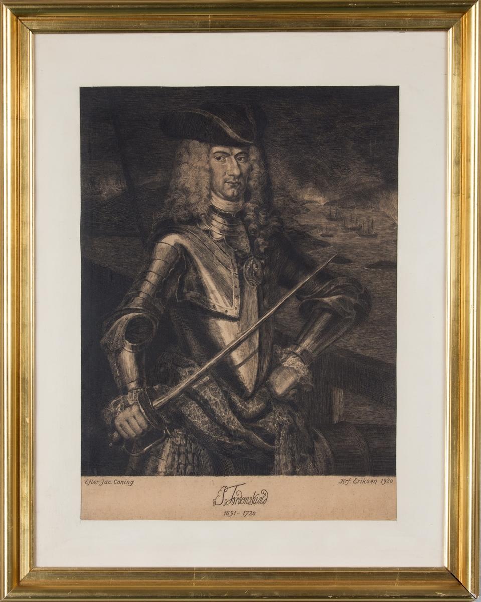 Kobberstikk av portrett av Peter Tordenskjold, 1691-1720.