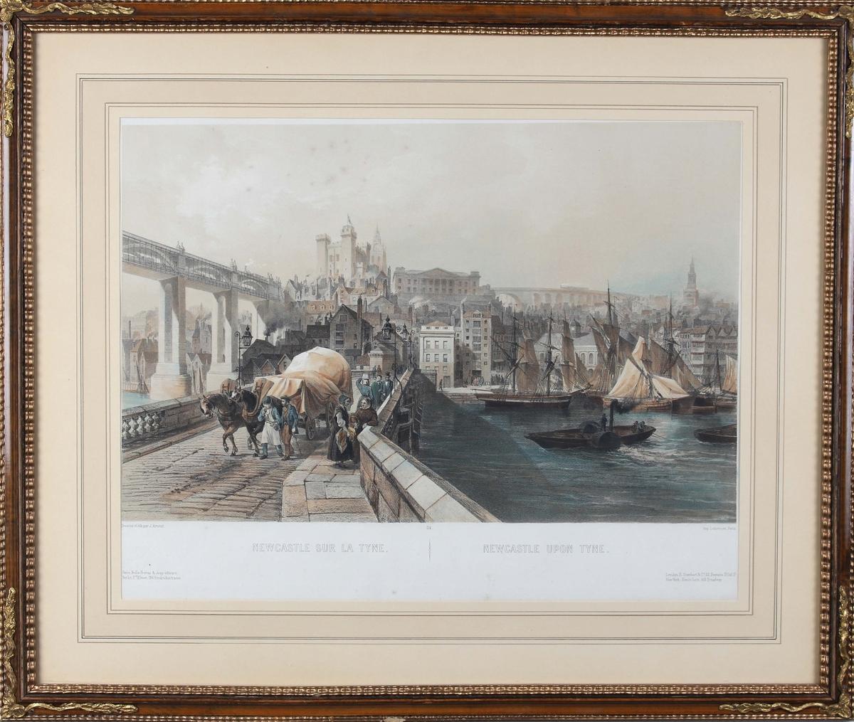 Trykk fra havnen i Newcastl, Tyne. Ser hest og vogn på en bro samt seilskip og hjuldamper i havnen.