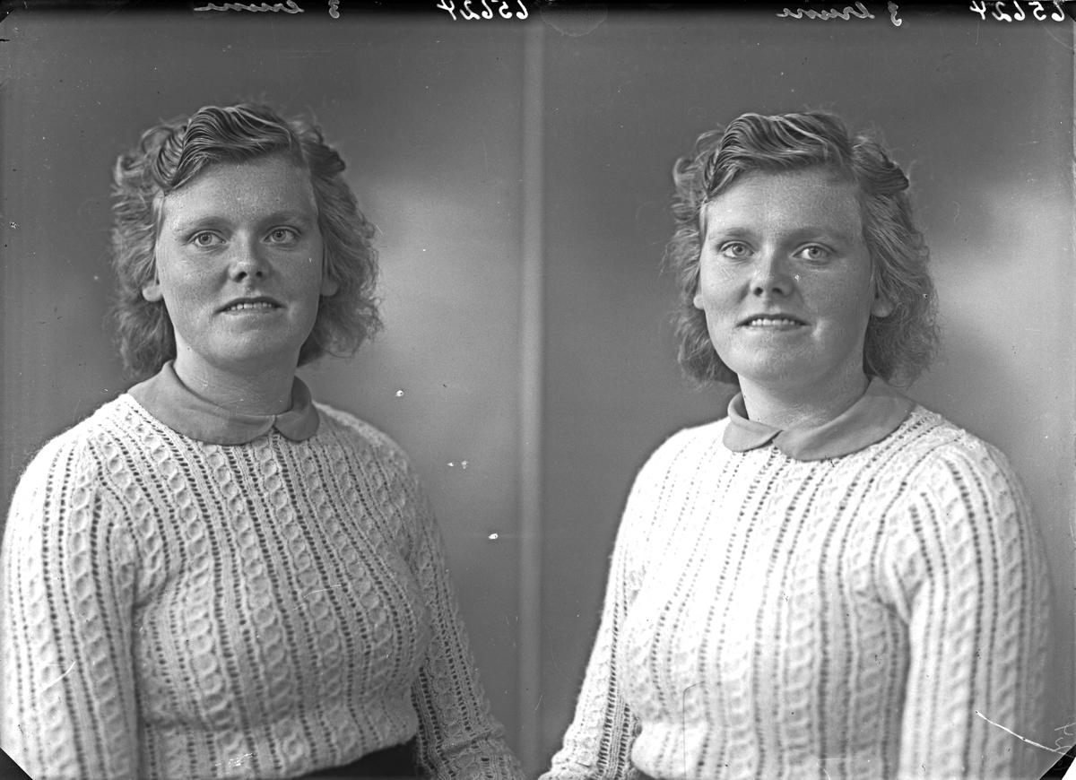 Portrett. Ung kvinne iført strikkegenser. Bestilt av Anna Tveita. Fitjar.