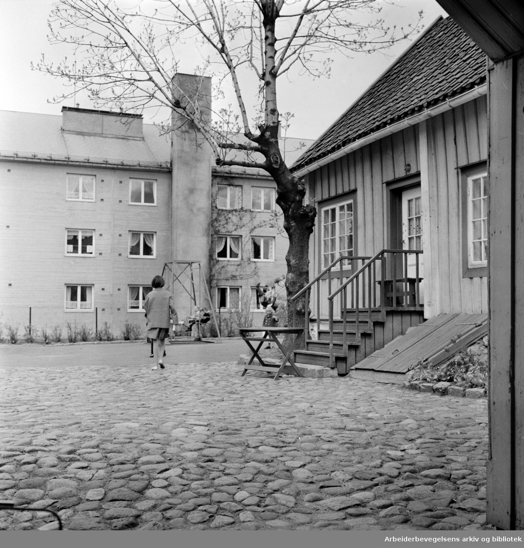 Biermannsgården (Maridalsveien 78), med nybygg. Juni 1962