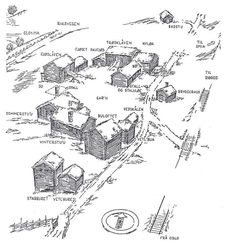 Skisse av tunet på Nordre Husan, tegnet av arkitekt Arne Berg i 1943. Like nord for eldhuset (bryggerhuset) står et nyere brønnhus. (Foto/Photo)