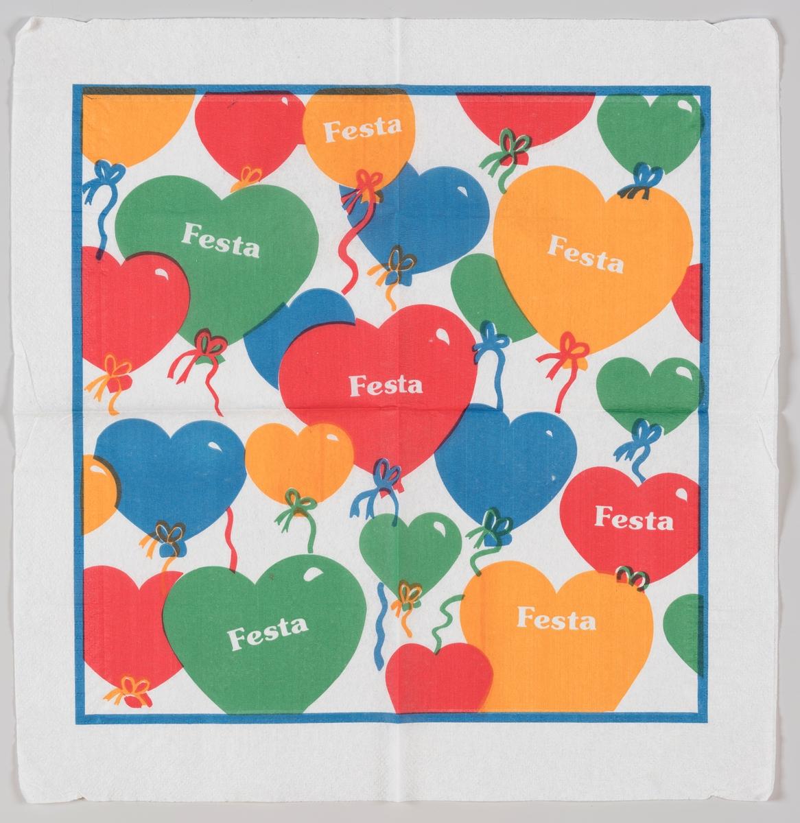 Hjerteballonger i gul, blå, rød og grønn.  Festa betyr fest og festival på portugisisk, spansk og italiensk.
