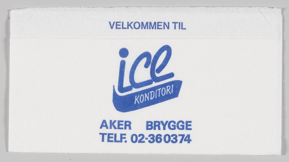 Reklametekst for Ice konditori på Akers brygge.  Samme tekst på serviett MIA.00007-004-0044.