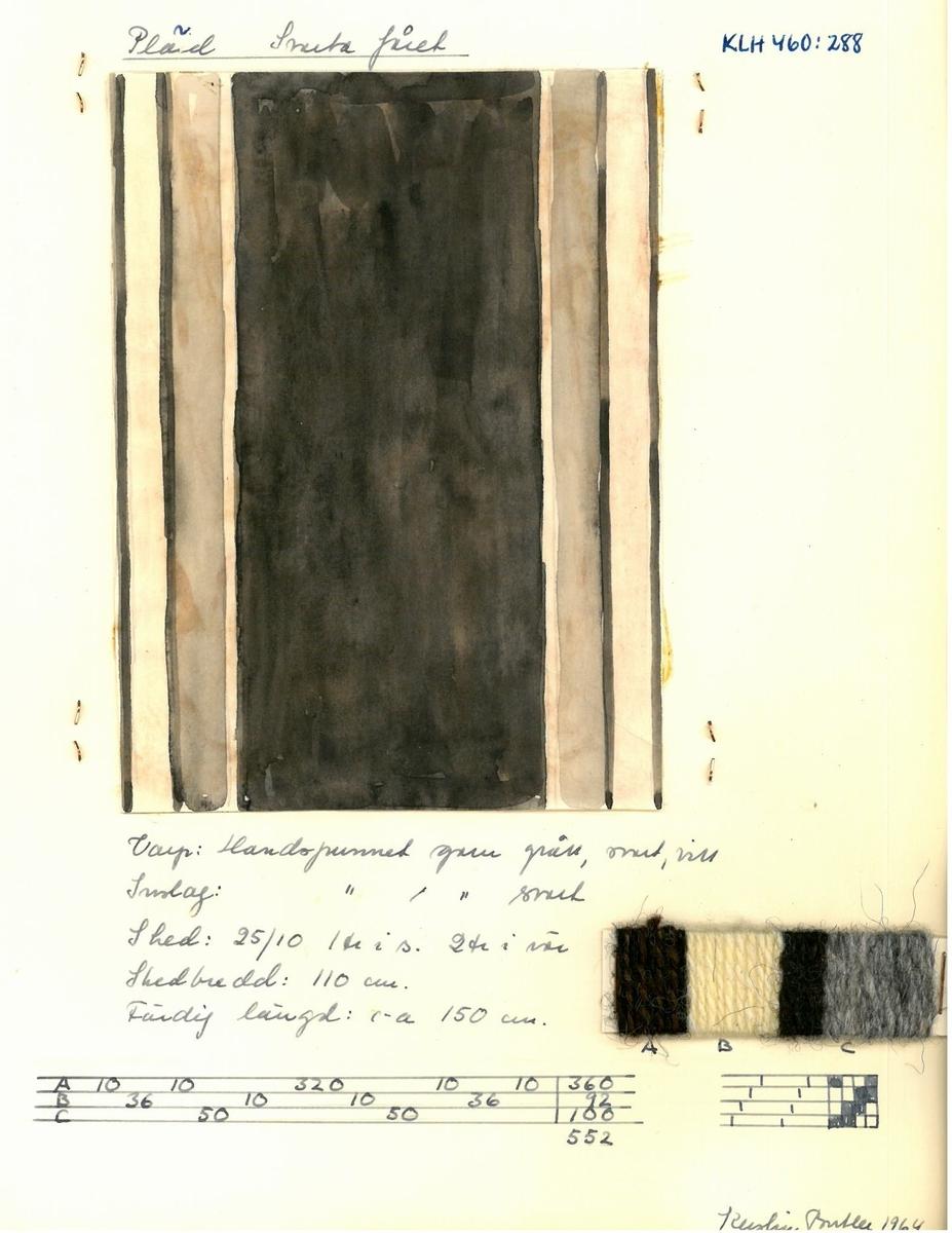 """Mönster, solvnotor och lindade randningar till halsdukar, plädar och sjalar. Kerstin Butler 1964 """"Pläd Svarta fåret"""""""