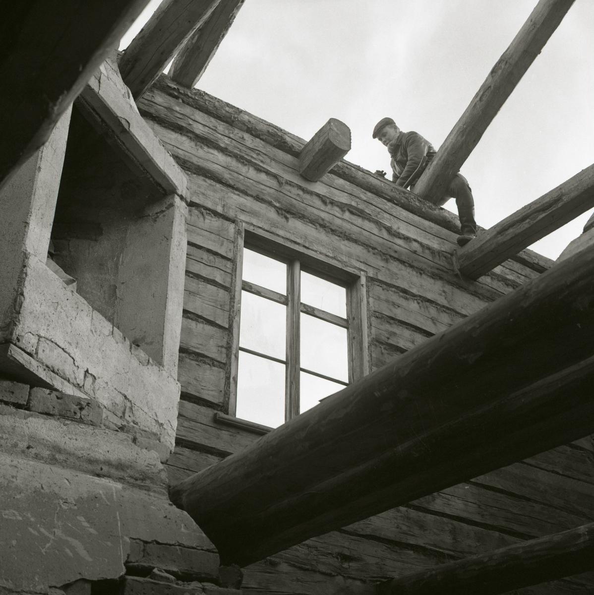 Nedmontering av ett timmerhus vid Västergården, 1967.