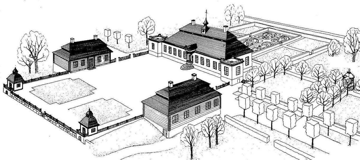 Skansens herrgård Skogaholm skapades på 1930-talet med avsikten att gestalta en herrgårdsanläggnings mangård från den senare hälften av 1700-talet. Byggnaderna kommer från Närke, Småland och Sörmland. Mangården består av fem byggnader; huvudbyggnaden, ett par flyglar samt två paviljonger samlade kring en rymlig, rektangulär gårdsplan med terrassmurar och staket. Till gården hör också ett lusthus, fatbur, barockträdgård, engelsk park samt en köksträdgård. Byggnaderna är från 1600- och 1700-talet.