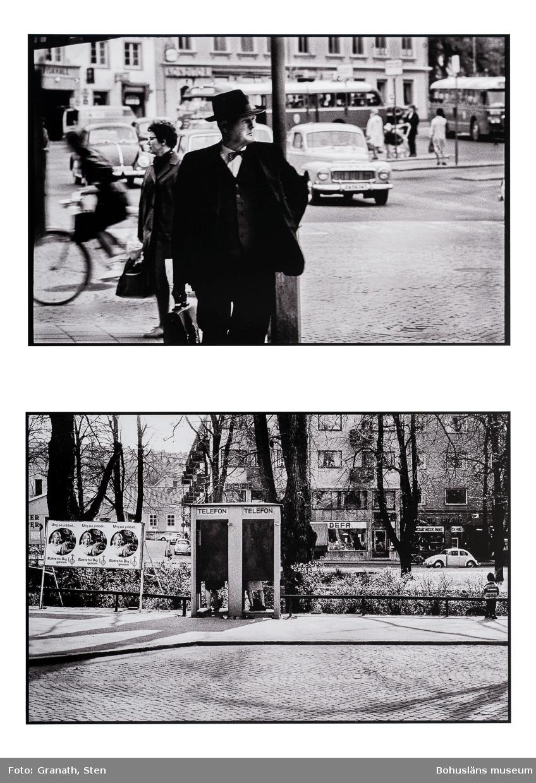 """Montage av två fotografier med stadsvyer från Uddevalla centrum. Den övre bilden är tagen på Kungstorget, i förgrunden syns en man iklädd hatt, kavaj, väst och fluga gå mot betraktaren. Han tittar mot Hasselbacken. Bakom honom syns bilar, bussar, cyklister och gångtrafikanter. På den nedre bilden står en telefonkiosk med två hytter vid Bäveån. I båda står personer vars ben skymtar under dörrarna. Till vänster om telefonkiosken står en skärm med tre likadana affischer. På affischerna syns en rund bild av en kvinna med texten """"Ung på jobbet... Bättre för Dig genom LO"""""""