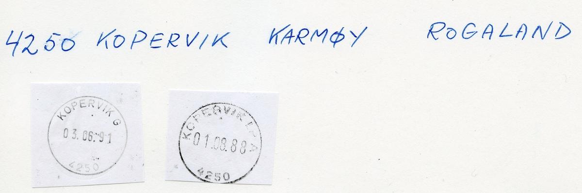 Stempelkatalog 4250 Kopervik, Karmøy kommune, Rogaland (Kobbervig 1.2.1855)