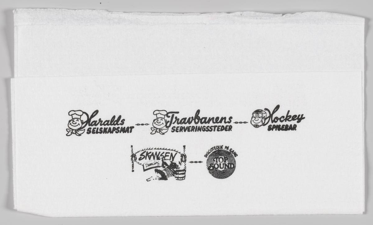 To kokke og en person med hockeyhjelm og reklametekst for Haralds Selskapsmat, Travbanens Serveringssteder, Hockey spisebar, Skansen Dancing og discoteque Top sound