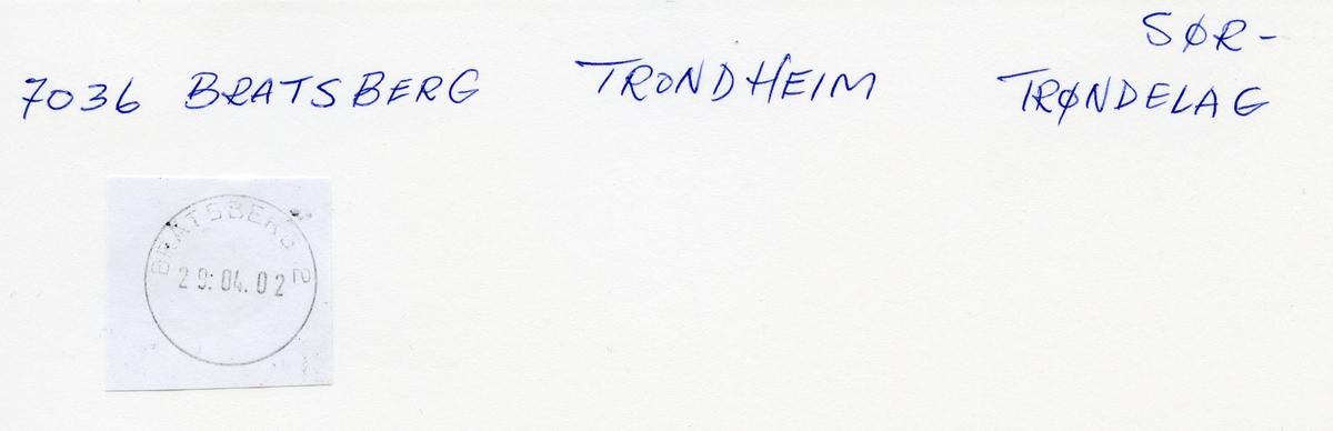 Stempelkatalog, 7064 Bratsberg, Trondheim postk., Trondheim kommune, Sør-Trøndelag