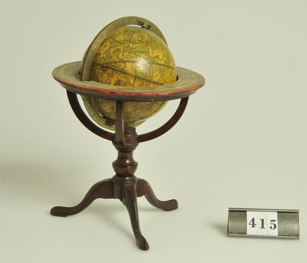 Stjärnglob av liten bordsmodell, svarvad träställning. Enligt uppgift av Lotten Winberg, Alingsås har stjärngloben varit auktionsföremål efter hennes far, major Winberg.