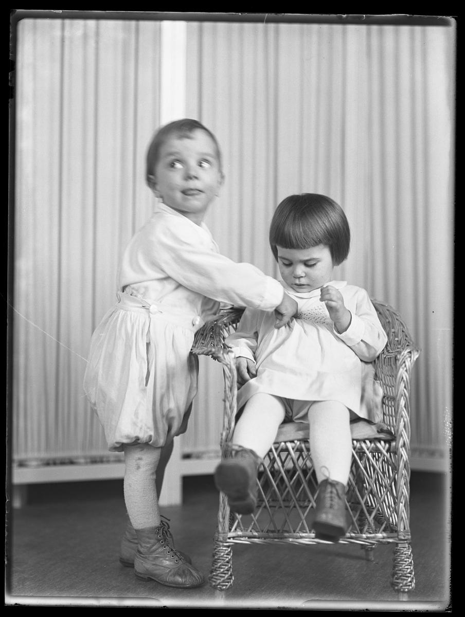 """En flicka sitter i en korgstol medan hennes bror står bredvid. I fotografens anteckningar står det """"Ing.[enjör] Bergs barn"""", tolkat som tvillingarna Peter Wilhelm och Ulla Maria."""