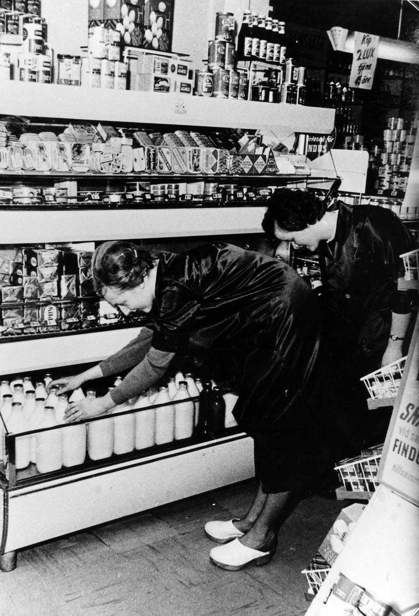 Inifrån Sandbergs speceriaffär. 2 kvinnor sorterar bland mjölkflaskorna. Kvarteret Storken.