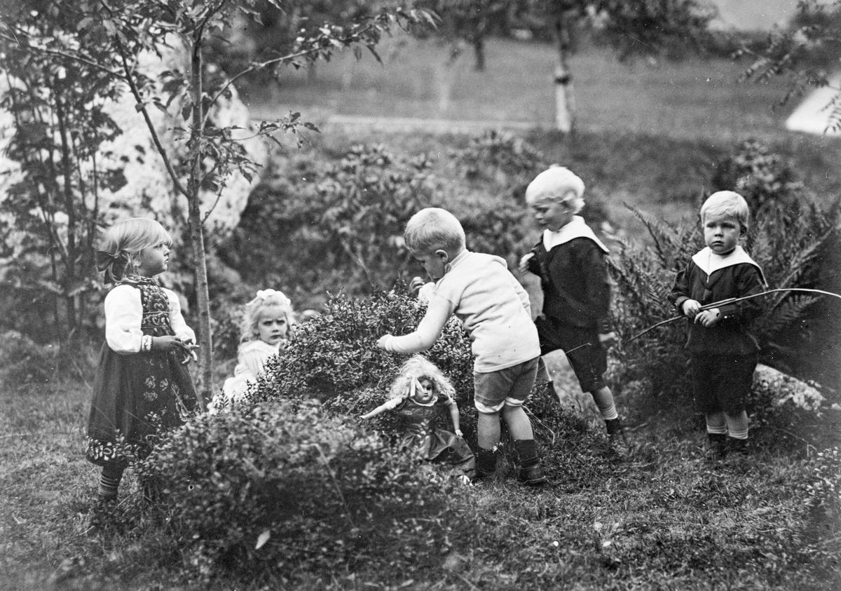 Gruppebilete, 5, barn, hage, bærplukking, dokke, matrosdress