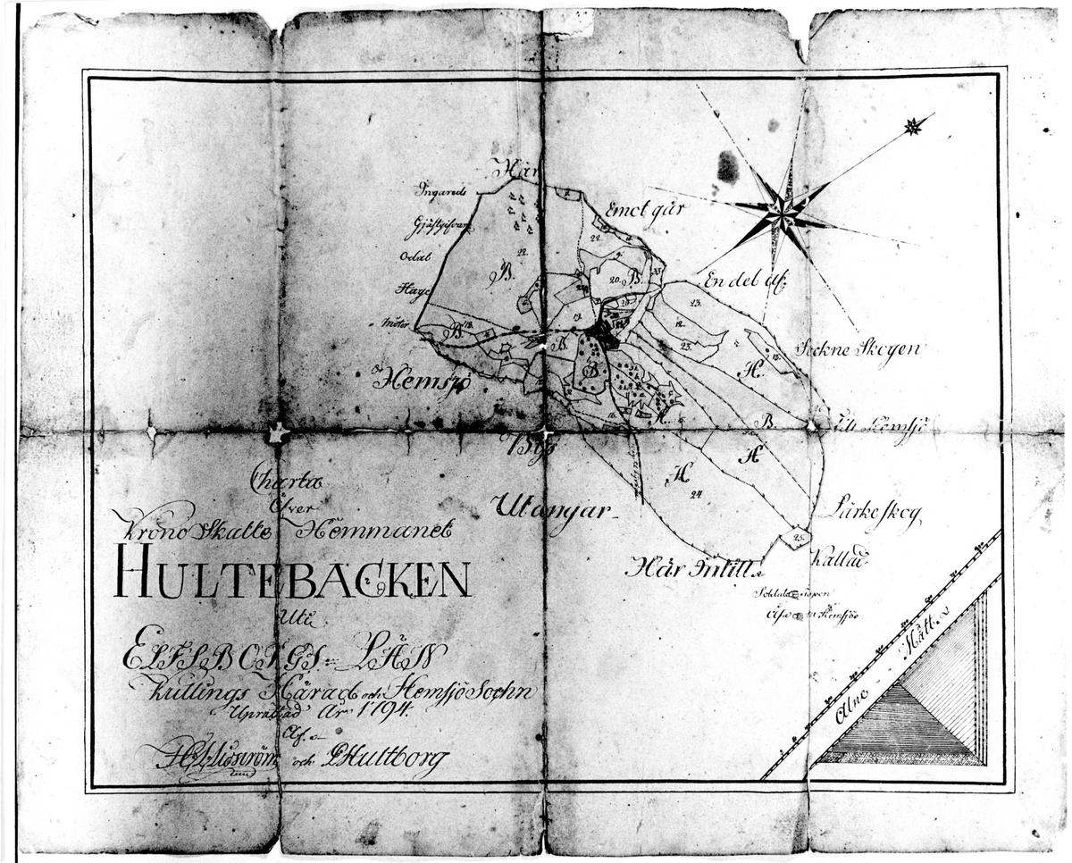 Karta över hemmanet Hultebacken 1794.