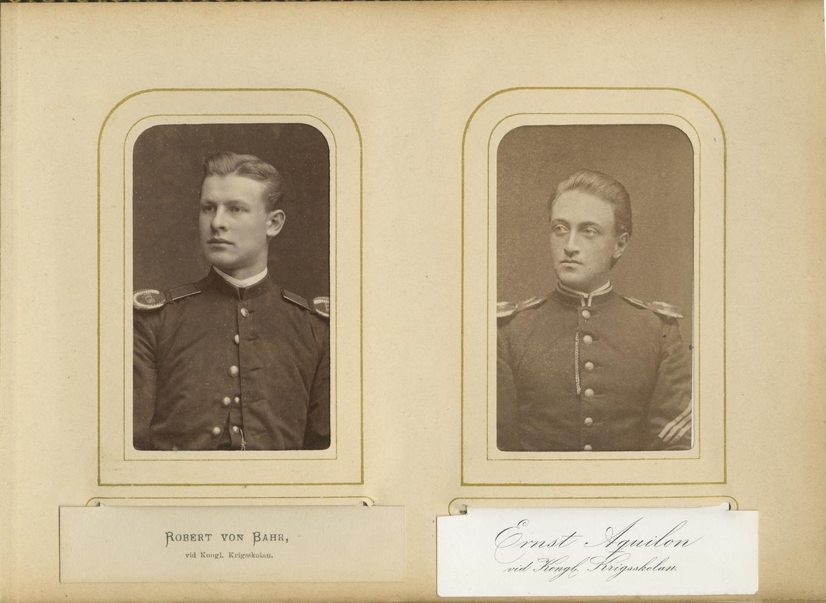 Porträtt av Claes Robert von Bahr vid Krigsskolan Karlberg.  Se även bild AMA.0006944 och AMA.0007005.