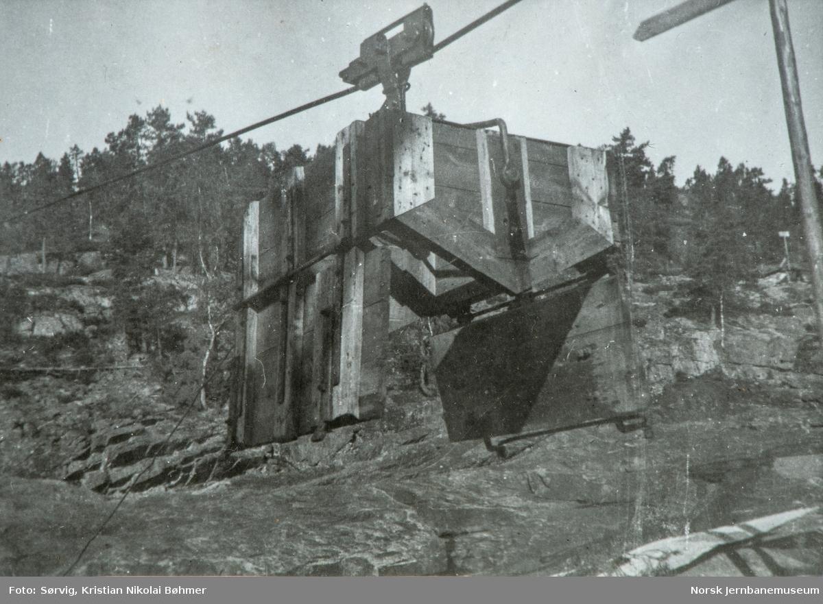Fra byggingen av Sørlandsbanen. Pukkverket på Herefoss stasjon.