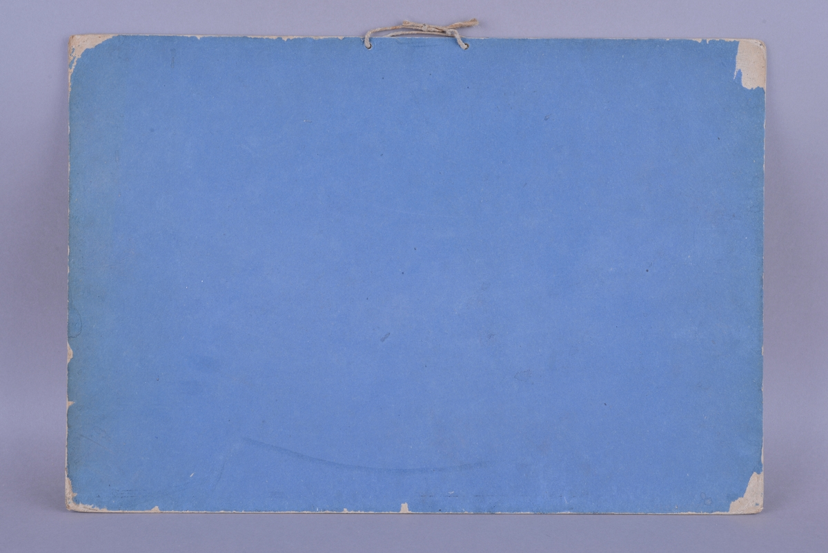 Rektangulær plansje av hvitt papir festet på kartong. Motivet er rektangulært og sentrert midt på plansjen i liggende format. Motivet er trykt i svart- hvitt. På baksiden og rundt plansjen er det festet et blått ark. Dette danner også en ramme for plansjen.  Midt på øverst på plansjen er det to hull med en tråd for oppheng. Det er trykt skrift i svart midt på under motivet, og i øvre høyre og venstre hjørne under motivet. Det er to påskrifter med blått blekk: en i øvre venstre og høyre hjørne av plansjen.