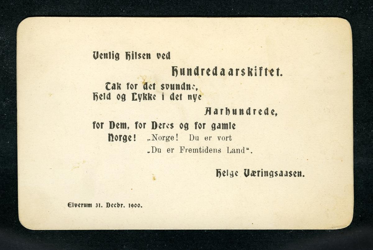 Helge Væringsaasens visitkort ved hundreårskiftet,1900