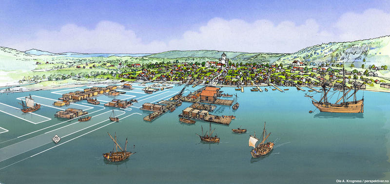 Illustrasjon av hvordan Oslos havn kan ha sett ut i 1624, basert på resultatene av arkeologiske utgravninger og historiske kilder. En rekke båter i ulik størrelse ses på vannet, enten fortøyd ved brygger eller ute på åpent vann. Lange rekker av brygger, hvorav noen har sjøboder eller andre bygg, stikker ut i vannet fra strandkanten nedenfor bybebyggelsen. (Foto/Photo)