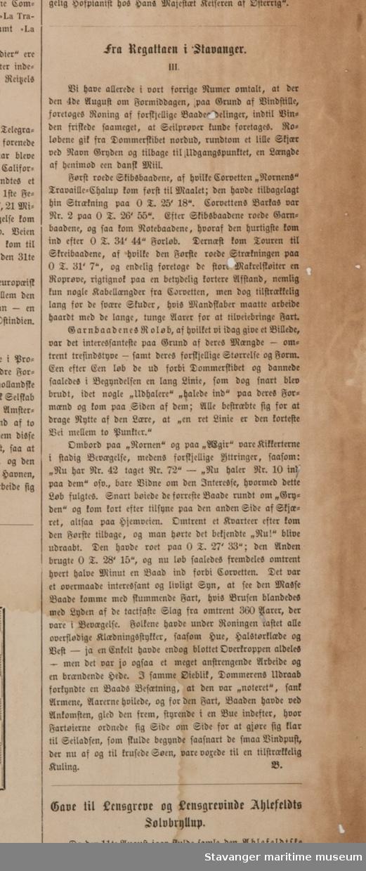 Trykk . Xylografi av Regattaen i Stavanger. Avisartikkel på baksieden.