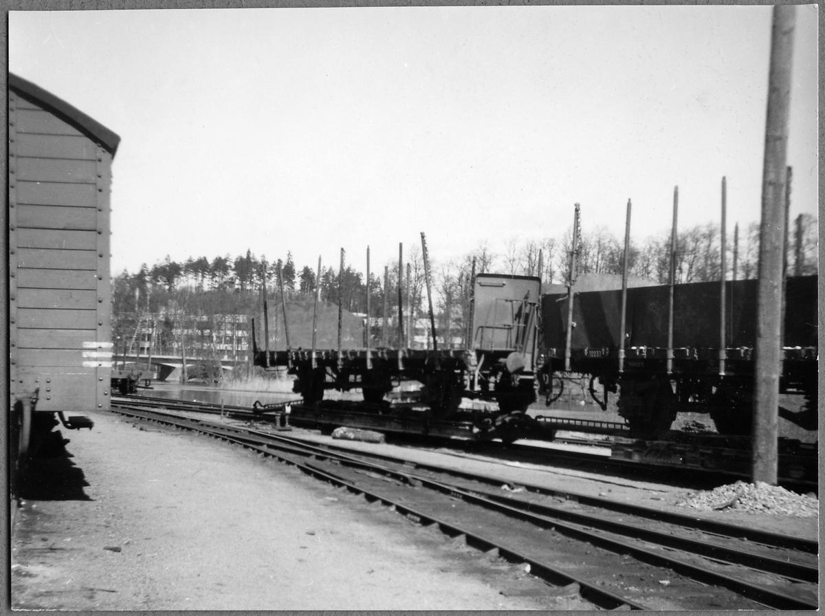 Godsvagnar på överföringsvagnar i Finspång.